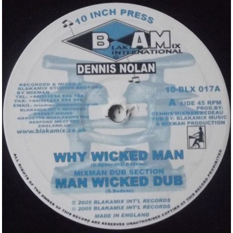 Denis Nolan - Why Wicked Man / Black Revolutian - 10""