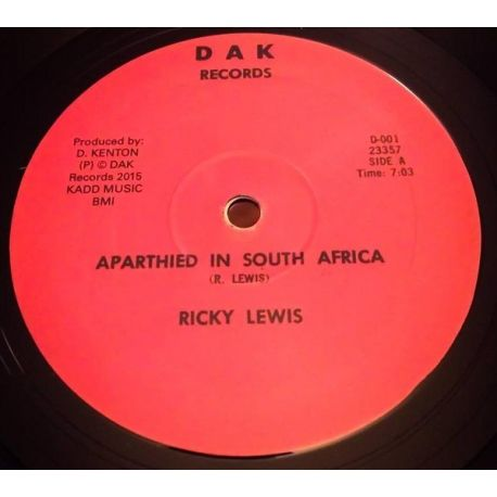 """Ricky Lewis  -  Apartheid In South Africa / African Struggler  - 12"""""""
