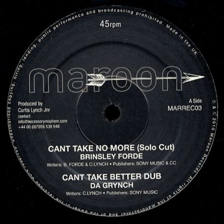 Brinsley Forde / Blackout Ja - Can't Take No More - 12""