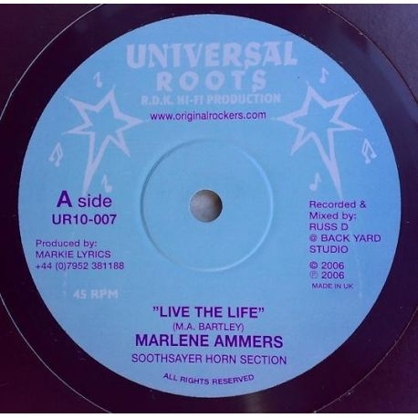"""Marlene Ammers, Soothsayer Horn Section - Live The Life - 10"""""""