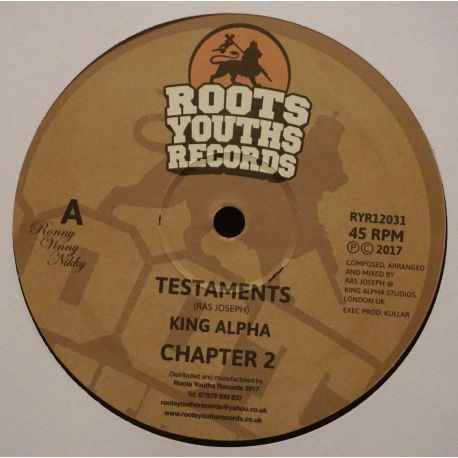 "King Alpha - Testaments - 12"" - Roots Youths Records"