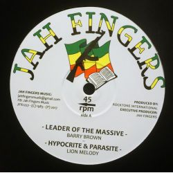 """Barry Brown / Lion Melody - Leader Of The Massive / Hypocrite And Parasite - 12"""" - Jah Fingers Music"""